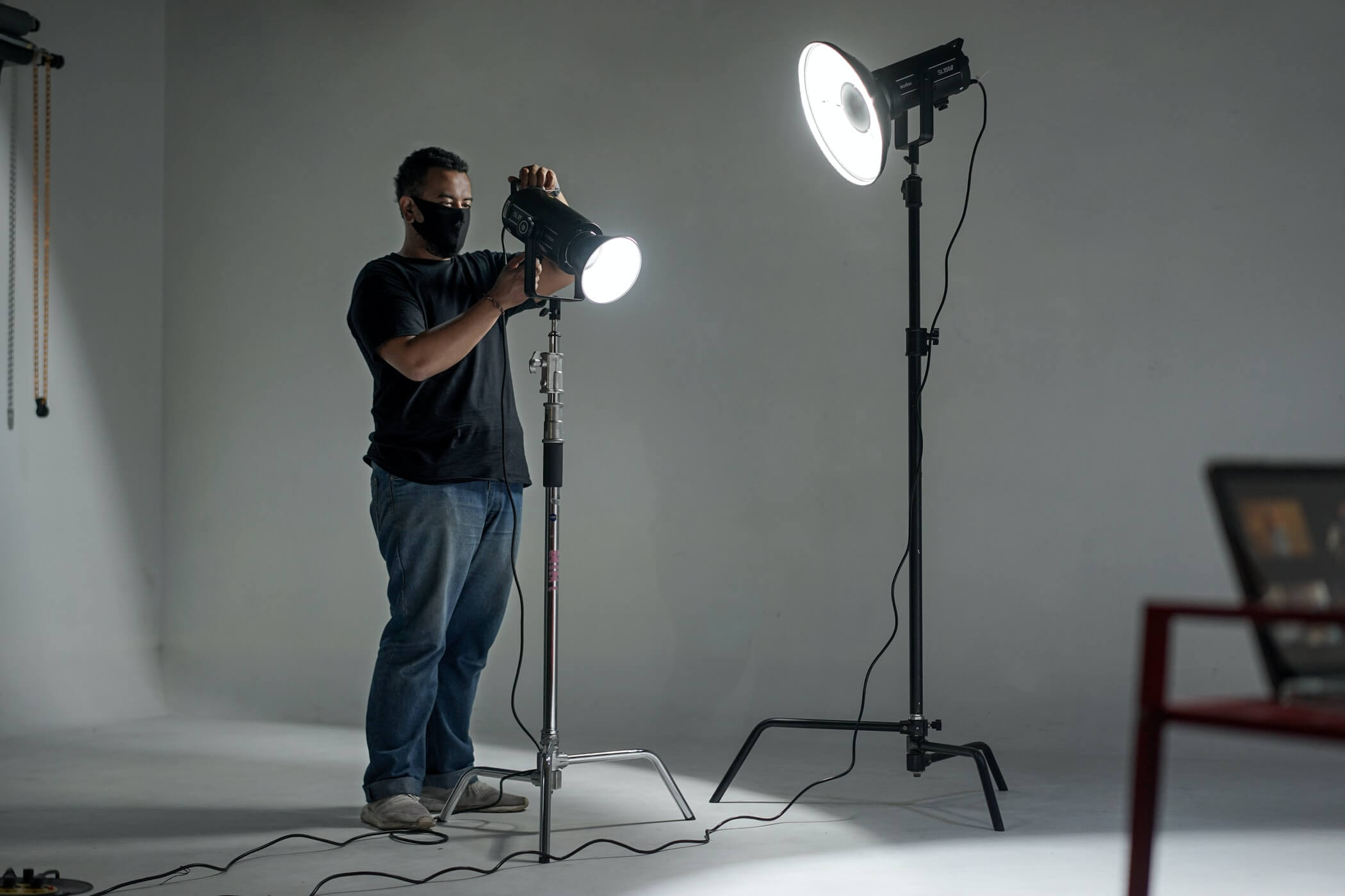 photography studio with a clothing photographer